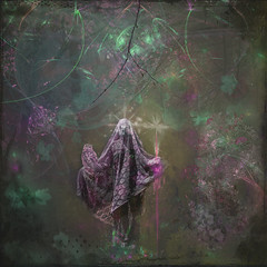 Hope Springs (margotd2) Tags: spring hope magic seasons green colourful fractals grunge abstract forest woods woman female spirit ghost veil robed staff walkingstick stick star crown flowers frames branches branch outdoors beautiful charmer mystery mysterious sparkles mist