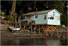 cottage on pilings (tesseract33) Tags: tesseract33 nikon light world art travel se ocean nanaimo newcastleisland protectionisland blue d750 nikond750