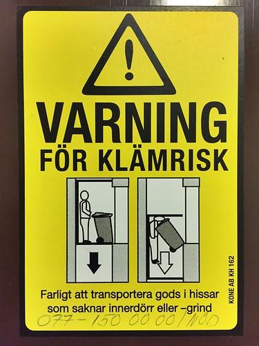 Varning för klämrisk