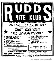 1941 rudd's nite klub (albany group archive) Tags: albany ny history nightclub tavern bar 1941 rudds nite klub claire parkin norman rowe judy saunders hamilton sisters martha gresham marietta maxim odette marjorie stewart dolores leland ann grace girls al fast schenectady road central avenue 1940s old vintage photos picture photo photograph historic historical