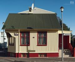 No.47 Njálsgata Tricolour (meezoid) Tags: tricolour house reykjavik travel iceland europe corrugated colour red cream window lamppost njálsgata green 47 shadows shapes