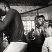 Ghana, boxer in a boxing gym