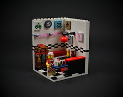 16 - Hot Dog Vendor (CeciΙie) Tags: lego moc cmf minifig vignette vig collectible hot dog vendor diner retro jukebox