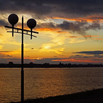 River. Sunset. Lamppost thumbnail