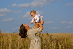 mother with baby on a Sunny day (androsoff) Tags: mother woman baby boy son child maternity family love joy emotions sunny positive communication hugs russian european caucasian blond yearling dress shirt white gray happiness happy together field grass yellow gold dry sky clouds rays education development two portrait face smile