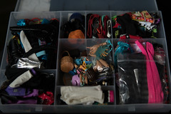 Storage of a doll's stuff (dancingmorgana) Tags: organization storage shelf dolls home workspace