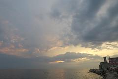 Piran (jodyking1) Tags: piran slovenia coast sea ocean street rocks beautiful tower view photography europe travel sunset sky clouds