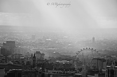 London (Sandrine Vivès-Rotger photography) Tags: uk england london town capital londres theeye horizon rain clouds sky buildings theshard shard thames westminster pointofview blackandwhite monochrome high