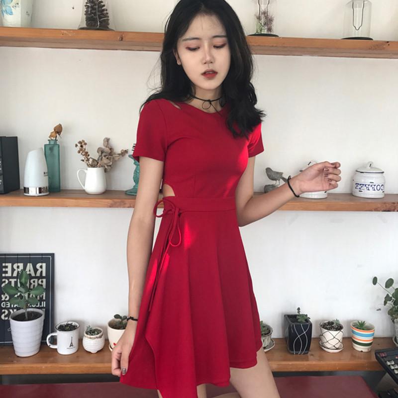 Die neuen Sommer - Herbst - koreanische studenten bis 2017 deutlich dünner - chic rock - Frauen, Kleine vorsichtig, roten kleid