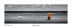 By Gormley (rhfo2o - rick hathaway photography) Tags: rhfo2o canon canoneos7d margate kent turnercontemporary anthonygormley anothertime sculpture lifesize castiron rust selectivecolour beach sea seaside waves horizon bw blackandwhite