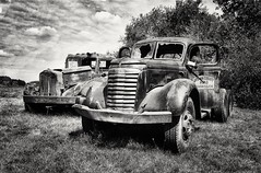 hard labor... (HTT) (BillsExplorations) Tags: rust oldtruck gmc autocar vintage hardlabor truckthursday blackandwhite monochrome old clouds saloon bar psychosilo illinois ottawa