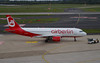Air Berlin A320-214 D-ABFA. 08/09/17. (Cameron Gaines) Tags: cn 4101 first flew hamburg finkenwerder 6th november 2009 davvk before being delivered saam leased air berlin dabfa 17th flown tegal following day the aircraft was sold smbc april 2013 again goshawk aviation may 2014 current september 2017 airberlinairbusa320214dabfashortlyafterpushbackfromthegateatdusseldorfairport germany bankruptcy etihad dus eddf airliner airport airfield flughafen ber txl