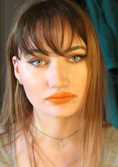 Orange Lips Portrait (Silje Roos) Tags: photo photography photos portrait photoshoot picture photographys pretty people photograph bangs fashion style model makeup make up beauty beautiful woman girl girly orange lipstick naturalmakeup hotgirl dope fresh models modern necklace cross brown hair brownhair longhair hairstyle hairstyles black skin