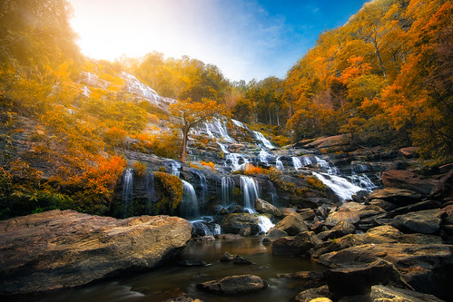 Mae Ya Waterfall is beautiful nature of Doi-Inthanon at Chiang Mai province in Thailand