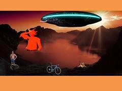 Mutant Monte at Mirror Lake 8 22 2017 (Monte Mendoza) Tags: ufo bike mutation dna goldenretriever montemendoza underarm armpit axila malechest mutant dog briefs alien invasion reflection