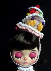 Candy getting ready for the Royal Ascot (Blythe's Tiny Worlds) Tags: hat cake amigurumi fruit helmet headband blythe doll sweets crochet