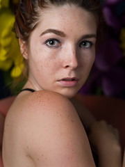 Roxanne #2 (Bruce M Walker) Tags: red portrait closeup eyes freckles pentaxart woman mediumformat