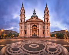 Panorama of Saint Stephen Basilica in the Morning, Budapest, Hungary (ansharphoto) Tags: architecture basilica blue budapest building capital cathedral catholic christian christianity church city cityscape cobble cupola dawn dome europe european exterior facade historic history hungarian hungary iconic illuminated istvan landmark magyar morning mosaic night old religious saint sky skyline square st stefan stephen street temple tourism tower town travel twilight urban