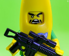Livid Banana (jezbags) Tags: lego legos toy toys minifigure minifigures macro macrophotography macrodreams macrolego canon60d canon 60d 100mm closeup upclose banana livid gun yellow green