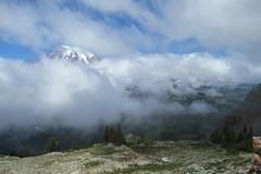Peak-a-Boo Rainier (Karen Molenaar Terrell) Tags: plummerpeak hike washingtonstate mountrainiernationalpark karenmolenaarterrell trail pinnaclesaddle