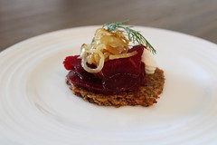 Pickled beetroot with goats cheese mousse