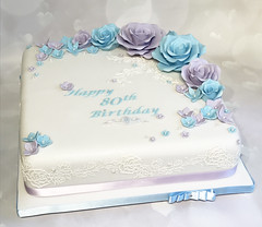 Roses Lace Birthday Cake