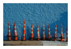 Cone Heads (TooLoose-LeTrek) Tags: blue orange cone traffic road repair minimal minimalism banal