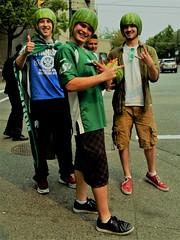 Saskatchewan Roughriders melonhead fans (SqueakyMarmot) Tags: vancouver downtowneastside dtes mainstreet saskatchewanroughriders canadianfootballleague cfl melonhead fans watermelons
