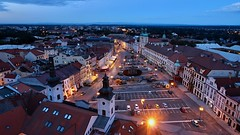 Night view from White tower on the Hradec Kralove (safris76) Tags: architecture blue bluehour cars carsparked city clouds concrete czech darkness dirt europe glass historicalbuilding hradeckralove chimney church light longexposure lowlight night old oldtown pavement public religious romance roof sidewalk square state stone street sunset tower townhall travel tree walkway whitefacade window