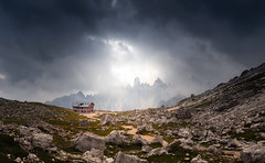 The Final Destination (Croosterpix) Tags: landscape mountains mountain alps dolomiti dolomites dolomiten italy travel light sky clouds rocks cabin sony a7r nikkor