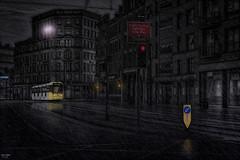 Give Way to Trams (Kev Walker ¦ Ƭнαиκ Ƴσʋ 4 Ғαʌ'ƨ & Cσm) Tags: architecture canon1855mm canon700d citycentre digitalart england hdr lancashire manchester northwest postprocessing tram transport rain dark