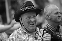 Happy hatter (Frank Fullard) Tags: frankfullard fullard candid street portrait hat happy smile smiling mayo fan supporter irish ireland football castlebar face monochrome black white
