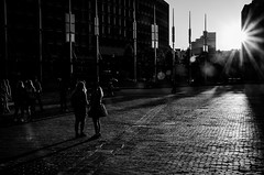 Touched by light (Rabican7) Tags: rays sun boston massachusetts newengland downtown streetphotography light touched shadows flare monochrome blackandwhite streetphoto people urban buildings sunset blackwhitephotos