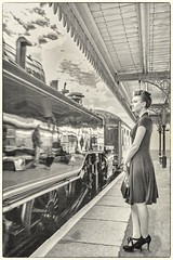 Longing (waynedavey67) Tags: canon 5dmkiii canoneos5dmkiii 1635mmlf4 model woman lady female 1940s 40s 40sweekend reenactment worldwarll wwll steam steamtrain station dereham midnorfolkrailway bwartaward bw monocrome