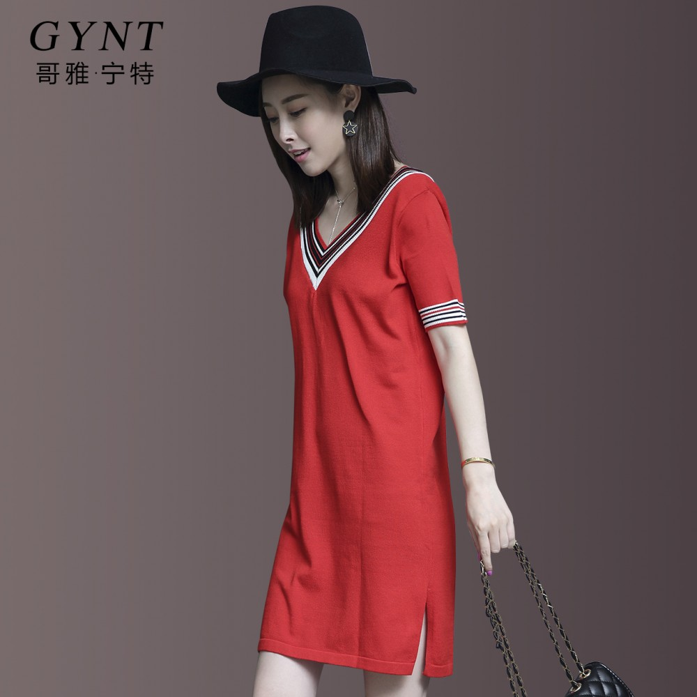 Europe 2017 new Korean V collar loose knit short sleeved summer dress fashion temperament female thin silk
