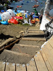 stairs (citymaus) Tags: oregon eclipse gathering 2017 symbiosis big summit prairie ochoco national forest or lake beach music festival art arts stairs design wood timber trees water floatie floaties floaty