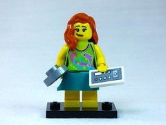 Brick Yourself Custom Lego Figure  Cute Girl with Frying Pan and TV Remote