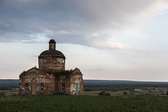 Evening landscape (Oleg.A) Tags: grass autumn penzaregion window church nature orange summer twilight architecture wall ruined saintnicolaschurch landscape sunset cloudy brick outdoor rural evening villiage old blue abandoned interior destroyed ancient russia materials dome sky skyscape green orthodox field staryakutlya
