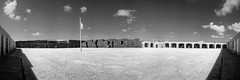 Key West:  Fort Zachary Taylor Fortress Parade Ground (Ed Rosack) Tags: blackandwhite usa keywest flag thekeys monochrome cloud buildingandarchitecture military sky ©edrosack panorama infrared fort florida armedforces bw cloudy grayscale ir