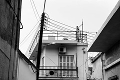 Confusion of lines (petia.balabanova(tnx for +3 million views)) Tags: lines confusion chaos architecture electricity blackandwhite bw monochrome kyrenia cyprus turkishside nikond800 2470mm travel house