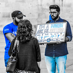 Fear is the only true enemy, born of ignorance and the parent of anger and hate - Edward Albert (LeRouxster) Tags: trafalgarsquare trafalgar bluefilter blackwhite blackandwhite faith unitedkingdom england london acceptance tolerance grow understand learn listen muslim religion