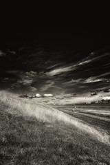The Ride (Alfred Grupstra) Tags: nature blackandwhite cloudsky landscape ruralscene outdoors sky nopeople grass cloudscape scenics field meadow dramaticsky nonurbanscene dark sunset overcast beautyinnature sunlight van