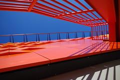 Topsy Turvy Stairs (erluko) Tags: blue orange architecture casinoatdaniabeach stairs shadows reflections gambling casino jaialai
