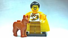 Brick Yourself Custom Lego Figure Sunshine Girl with Dog and Glass of Sunshine Juice
