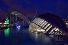 Deep Blue Night (gerard eder) Tags: world travel reise viajes europa europe españa spain spanien architecture architektur arquitectura valencia modernarchitecture blue hour wasser water ciudades city ciudaddelasartesyciencias cityofartsandsciences stadtderkünsteundwissenschaften calatrava santiagocalatrava museum museo lhemispheric night nacht noche outdoor städte stadtlandschaft cityview cityscape c