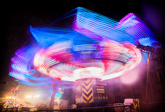 'Extreme' Funfair Ride At St Giles, Oxford (Peter Greenway) Tags: extreme streetfair fair colourful lighttrail stgilesfair oxford colorful night nighttime lighttraces fairground stgiles funfair fairgroundride flickr