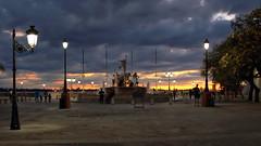 Sunset at the Raices Fountain (dorameulman) Tags: wtbw sunset puertorico sanjuan dorameulman clouds atmospheric canon outdoor haiku birthday