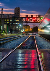 Unexpected Train (mikeSF_) Tags: chicago illinois il night derelict building railroad amtrak train rail yard warehouse meatpacking district fulton kinzie canal longexposure pentax k3ii fa77