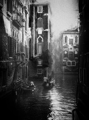 Venice (www.streetphotography-berlin.com) Tags: venice italy canal gondolier travel reflection water boat city cityscape dreamy street streetphotography streetlife blackandwhite blackwhite impressionist impressionism