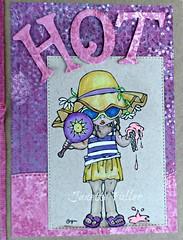 HOT! Handmade Card (janettefuller) Tags: handmadegreetingcard handmade hot girl summer icecreamcone melting sunhat hat digitalstamp digi momanning daniella prismacolorpencils gelpen diecuts card cardmaking papercrafts art crafts